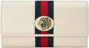 """NEW GUCCI CURRENT VINTAGE WHITE LEATHER """"RAJAH"""" CONTINENTAL LONG CLUTCH WALLET"""