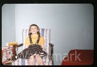 1950s red border Kodachrome photo slide  Young Girl in chair  Magazines Argosy