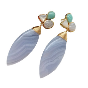 Natural Blue Lace Agate Chalcedony White Shell Peruvian Amazonite  Stud Earrings