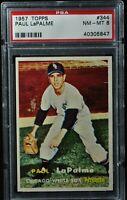 1957 Topps - Paul LaPalme - #344 - PSA 8 - NM-MT