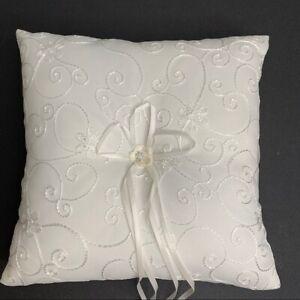 New ivory ring bearer pillow floral design wedding