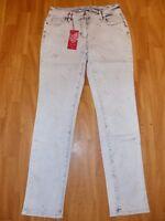 Neue Laura Slim By Laura Kent Damen Jeans Gr 40 Weiß Grau Mit Silber Herzen OVP