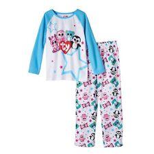 Girls TY Beanie Boos Pajamas PJ Pinky Owl Leona Leopard Waddles Penguin Size 4/5