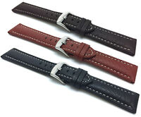 Bandini 18-30mm Extra Long (XL) Leather Watch Band Strap, Black, Brown,Tan