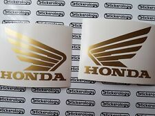 HONDA WINGS TANK GLOSS GOLD STICKERS/ DECALS PAIR LEFT AND RIGHT