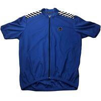 Descente Mens Med Cycling Jersey Blue Full Zip Short Sleeve Back Pockets Canada