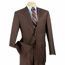 VINCI Men's Brown 2 Button Classic Fit Suit w/ Flat Front Pants NEW