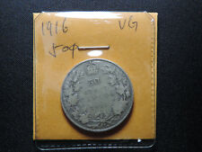 1916 50 Cent Coin Canada King George V Fifty Cents .925 Silver VG Condition