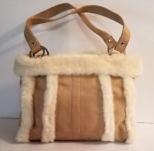 NEW! Women's Tan Faux Suede with Ivory Faux Fur Trim Handbag