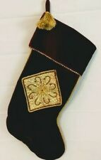 Christmas Stocking Red Velvet Gold Trim Sequi