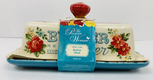 Pioneer Woman Vintage Covered Butter Dish Lace Design Floral Teal and Red NEW