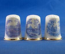 Birchcroft Thimbles -- Set of Three -- Vintage Blue Designs