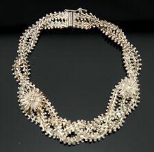 Vtg Sterling Silver Filigree Gate Link Signed Taxco Bracelet