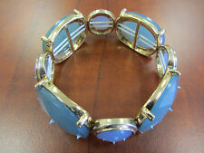 Woman's Statement Stretch Bracelet Blue Mixed Faceted round & oval w/Gold tone