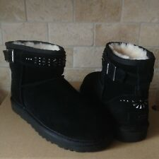 UGG Jadine Deco Studs Studded Black Suede Buckle Moto Mini Boots US 11 Womens