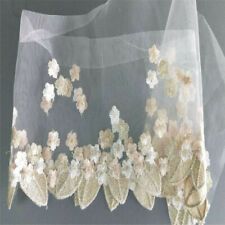 1 Yard Lace Trim Wedding Flower Leaves Embroidery Tulle Fabric Clothing Decor