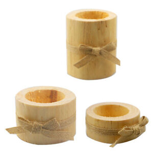 Retro Wooden Pillar Design Candle Holder Stand Candlestick Wedding Party Decor