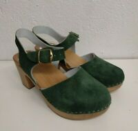 Swedish sandals green suede Leather & Wooden Clogs High heel Women