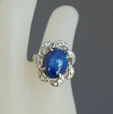 VINTAGE OVAL BLUE STAR SAPPHIRE & DIAMOND 14KT WHITE GOLD RING