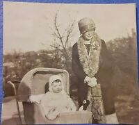 Vintage Old 1920's Fashion Photo Woman Wearing Cloche Hat & Fur & Baby Stroller