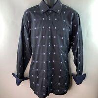 Bugatchi Uomo Mens Button Front Shirt Black Blue Glen Check Plaid Cotton L