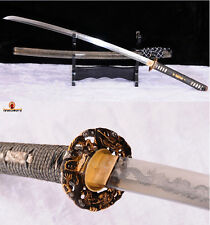 JAPANESE KATANA DAMASCUS STEEL CLAY TEMPERED SAMURAI SWORD BATTLE SHARP BLADE