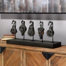 """NEW VINTAGE INDUSTRIAL STYLE 30"""" LONG CAST IRON PULLEY SYSTEM DISPLAY WOOD BASE"""