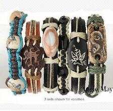 Wholesale 12 Leather and Hemp Surfer Bracelets
