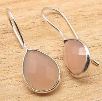 ROSE QUARTZ Pear Gemstones Simple Fashionble Drop Earrings 925 Silver Plated