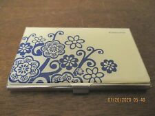 Vintage Blue & White Flowers On White Cover & Silver Tone Business Card Holder