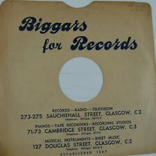 "78 rpm 10"" inch card gramophone record sleeve , BIGGARS FOR RECORDS GLASGOW"