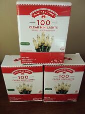 New Lot Of 3 Boxes 100 Count Clear Mini Christmas String Lights Green Wire Tree