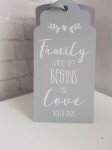 Family Quote Hanging Plaque Sign were life begins and love never ends