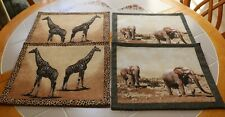 Wild Animal Placemats Group of 4 Fabric Giraffes & Elephants Reversable NEW