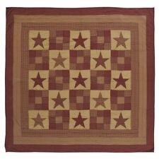 Oversized Luxury King Quilt Hand Stitched Patchwork Burgundy Red Ninepatch Star