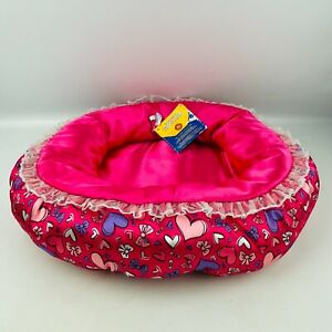"""Build A Bear Pet Bed Pink Satin Hearts Bearemy's Kennel Pals 15"""""""