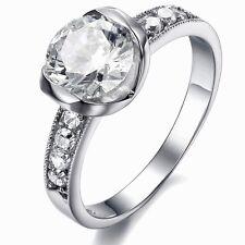 Solitär Ring ! Weißgold-plattiert Damen Ring Verlobungsring 9 Zirkonia vergoldet