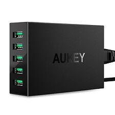 AUKEY Caricabatterie USB da muro, 5 Porte, 50W 5V 10A Caricatore USB Universale