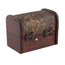 Wood Vintage Retro Handmade Small Storage Box Case Flower Metal Lock Jewelry KJ