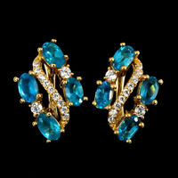 Oval Paraiba Blue Apatite 5x3mm Cz 14K Gold Plate 925 Sterling Silver Earrings