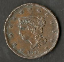 USA Grande Taille Cuivre One Cent 1841 GVF