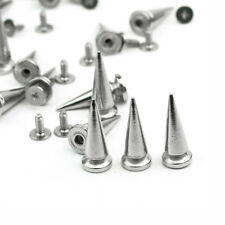 20Pcs Silver Metal Studs Rivet Bullet Spike Cone Screw For Leather Craft DIY