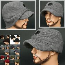 Cadet Box HOC GRAY Visor Beanie Chullo Skull Knit Cap Hat Ear wamer EarFlap