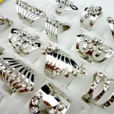 40pcs Silver Style Alloy Rhinestone Rings Wholesale Jewelry Lots Free Shipping