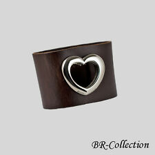 Genuine Leather Bracelet with Metal Heart