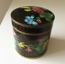 Old Chinese Cloisonné Cylindrical Covered Humidor Tea Caddy Jar Box