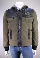 SAINT LAURENT Paris Green Puffer Hooded Western Jacket w/ Leather Detail US 42