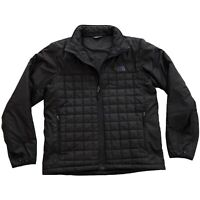 The North Face Mens Quilted Puffer Full Zip Black Insulated Jacket • Medium M
