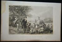 Antique Original 1860 Engraving Washington at Mount Vernon American Revolution