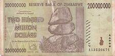 Zimbabwe 200 Million Dollar Note CIRCULATED AA/2008  / $100 Trillion Series